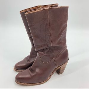 Vintage Frye Brown Leather Heeled Boots Mid-Calf